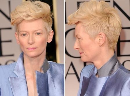 Tilda Swinton Golden Globes 2012 haircut