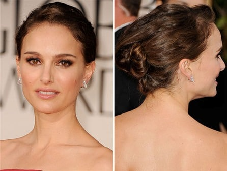 Natalie Portman hairstyle Golden Globe 2012