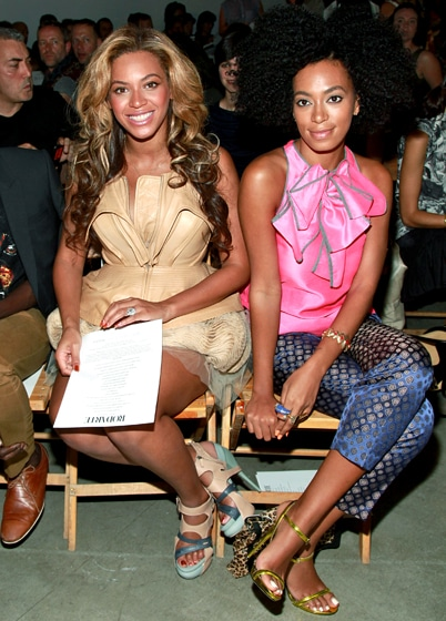 Beyonce and Solange Knowles at Rodarte Show during NY Fashion Week