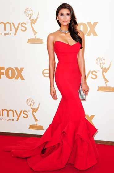 Nina Dobrev Side-swept hairdo Emmy 2011