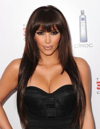 Kim Kardashian hairstyle with bangs