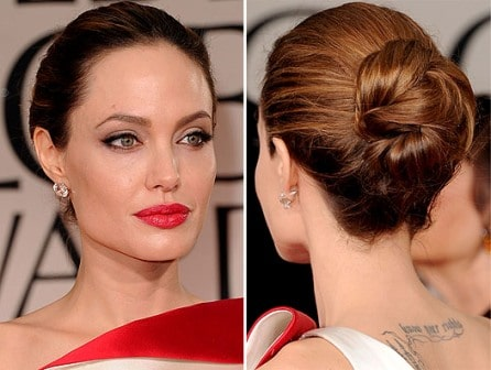 Angelina Jolie Hairstyle Golden Globes 2012